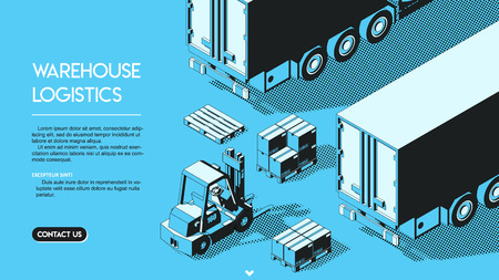 Warehouse Logistics Concept. Shipment Halftone Isometric Vector Illustration on Blue Background in Thin Line Art. Loader Forklift with Delivery Parcels and Pallets.