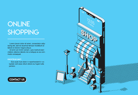 Online Shopping Concept. Internet Store Halftone Isometric Vector Illustration on Blue Background in Thin Line Art. Ilustração