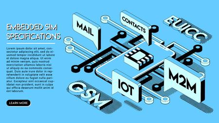 Embedded SIM Concept. New Mobile Communication Technology. Halftone Isometric Vector Illustration on Blue Background in Thin Line Art. Ilustração