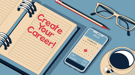 Create Your Career Concept. Personal Agenda Setting an Important Date. The Words Create Your Career on Notebook to Remind You an Important Appointment. Vector Halftone Isometric Illustration.