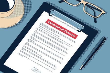 Arbeitsvertrag Verpflichtung Bedingungen Vereinbarung Konzept. Vektor.