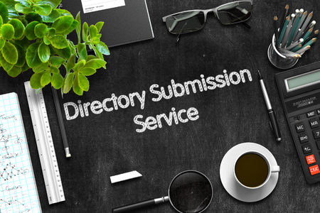 Directory Submission Service Concept on Black Chalkboard. 3D Render.