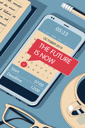 The Future is Now. Red Speech Bubble - Reminder in Calendar of the Modern Smartphone. Vector Halftone Isometric Illustration.