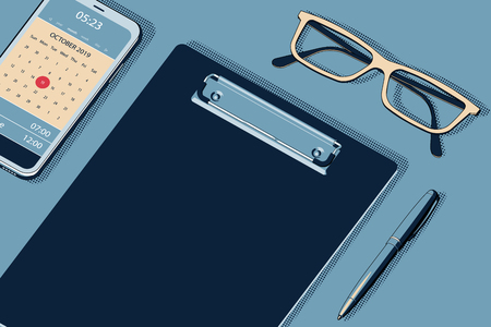 Home Office Workspace Mockup with Empty Clipboard, Modern Smartphone, Ball Pen and Glasses. Flat Lay, Top View. Vector Halftone Isometric Illustration. Ilustração