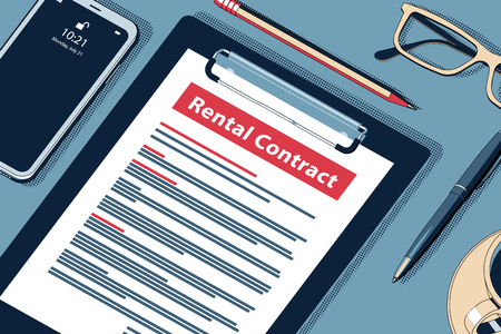 Rental Contract Concept with Clipboard, Modern Smartphone, Ball Pen and Glasses. Flat Lay, Top View. Vector Halftone Isometric Illustration.