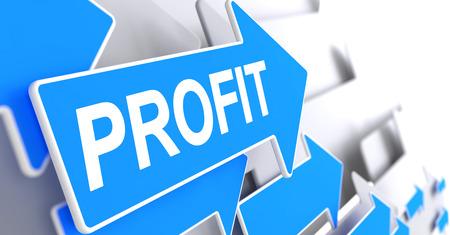 Profit - Label on the Blue Pointer. 3D.