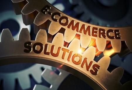 Soluciones de comercio electrónico en la rueda dentada dorada. 3D.