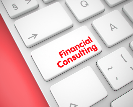 Financial Consulting - Message on White Keyboard Button. 3D. Фото со стока