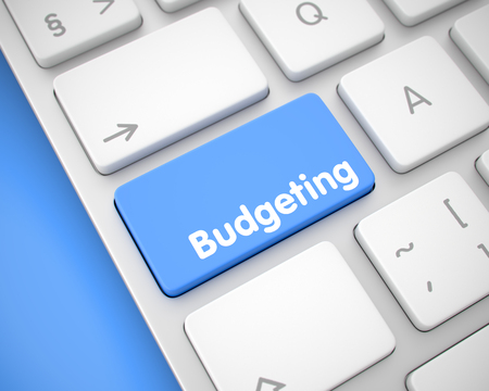 Budgeting - Message on Blue Keyboard Button. 3D. Banque d'images