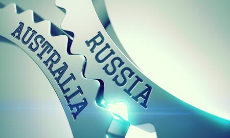 Russie Australie - Mécanisme d'engrenages à crémaillère en métal brillant. 3D.