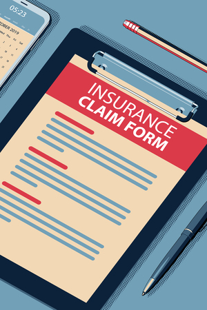 Insurance Claim Form - Vector Halftone Isometric Illustration.