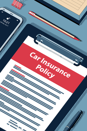 Car Insurance Policy - Vector Halftone Isometric Illustration. Illustration