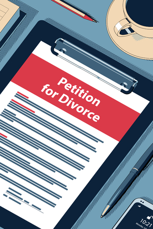 Petition for Divorce Concept with Clipboard, Modern Smartphone, Ball Pen and Glasses. Flat Lay, Top View. Vector Halftone Isometric Illustration.