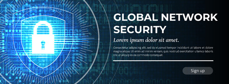 2d Illustration Global Network Security on Blue Digital Background. Web Banner Concept. Handsome Vector illustration.