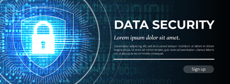 2d Illustration Data Security on Blue Modern Digital Background. Poster Template. Beauteous Vector illustration.