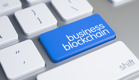 Business Blockchain - Text on the Blue Keyboard Keypad. 3D.