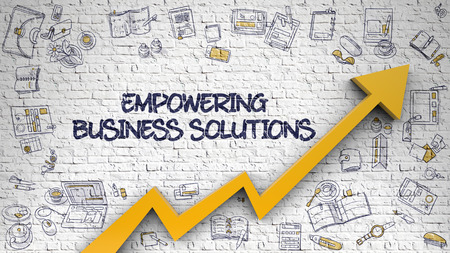 Empowering Business Solutions Drawn on White Brickwall. 3d.