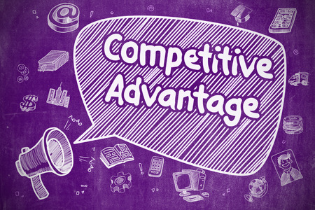 Competitive Advantage - Business Concept on Purple Chalkboard. Фото со стока