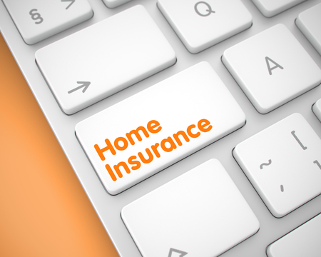 Home Insurance - Text on the White Keyboard Button. 3D.