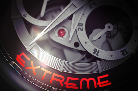 Extreme on Automatic Wristwatch Mechanism. 3D Render. Stock Photo