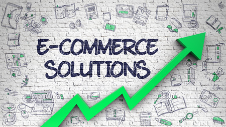 E-Commerce Solutions Drawn on White Wall. 3d.