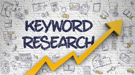 Keyword Research Drawn on White Brickwall. 3d.