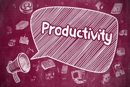 Productivity on Speech Bubble. Doodle Illustration on Chalkboard.