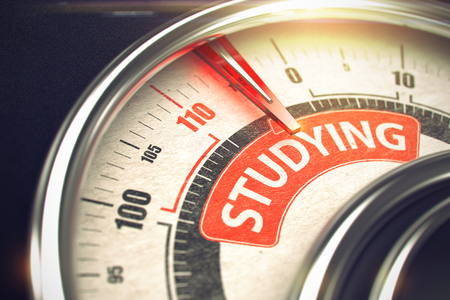 Studying - Text on Conceptual Gauge with Red Needle. 3D. Stock Photo