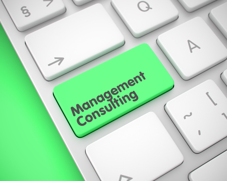 Management Consulting - Inscription on the Green Keyboard Key. 3D.