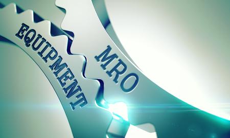 MRO-Ausrüstung - Mechanismus von glänzenden Metallzahnrädern. 3D. Standard-Bild