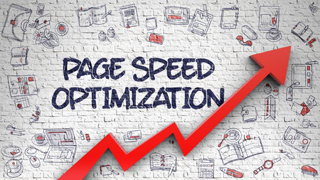 Page Speed Optimization Drawn on White Brickwall. 3d. Stock Photo