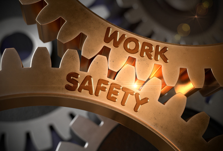Work Safety on Golden Metallic Cogwheels. 3D Illustration.