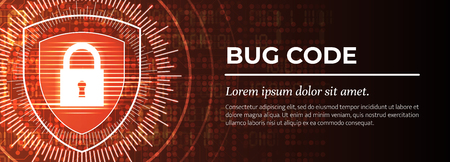 2d Illustration - Bug Code on Red Modern Digital Background. Web Banner Concept. Fine Vector illustration.