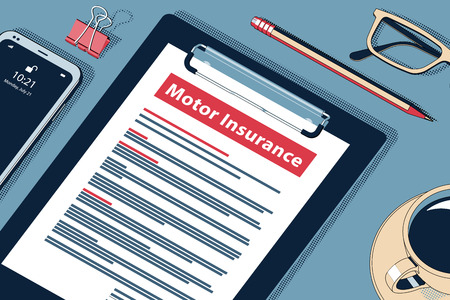 Motor Insurance Concept with Clipboard, Modern Smartphone, Ball Pen and Glasses. Flat Lay, Top View. Vector Halftone Isometric Illustration.