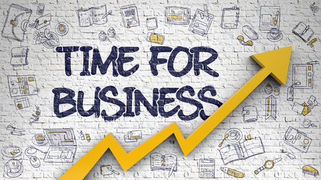 Time For Business Drawn on White Brickwall. 3d. Stock Photo