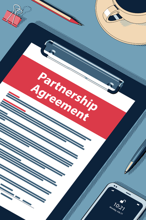 Partnership Agreement Concept with Clipboard, Modern Smartphone, Ball Pen and Glasses. Flat Lay, Top View. Vector Halftone Isometric Illustration.