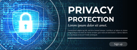 Privacy Protection. The Blue Modern Background. Vector. Illustration