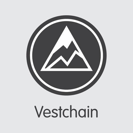 VEST - Vestchain. The Market Logo of Money or Market Emblem.