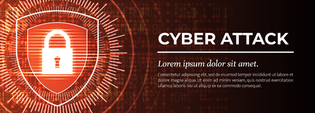 2d Illustration - Cyber Attack on Red Digital Background. Web Banner Template. Beauteous Vector illustration.