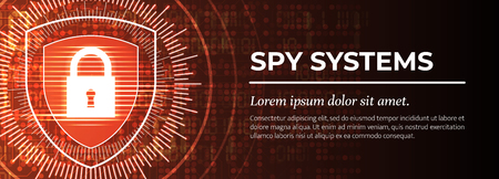 2d Illustration - Spy Systems on Red Digital Background. Web Banner Template. Handsome Vector illustration. Illustration
