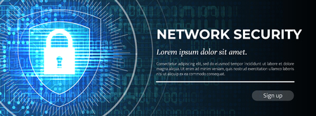 Network Security. The Blue Modern Safety Background. Vector.