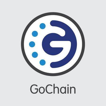 GO - Gochain. The Logo of Coin or Market Emblem.