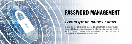 Password Management - Beauteous Web Banner Template. Vector illustration.