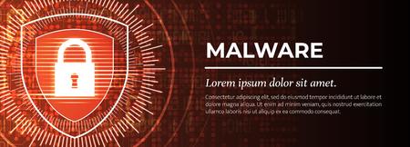 Malware. Le beau fond numérique rouge. Vecteur.