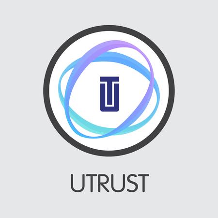 UTK - Utrust. The Icon of Virtual Momey or Market Emblem. Ilustração