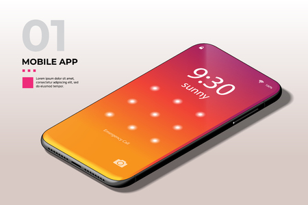 Modern Mobile Cell Phone with Lock Screen UI, UX and GUI Template in Trendy Orange, Red, Purple Gradient. Template for E-commerce, Responsive Website and Mobile Apps.