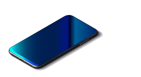 Beautiful Modern Abstract Black Smart Phone on White Background. Isometric View. Realistic Vector. Mockup of Smartphone with Touchscreen. 일러스트