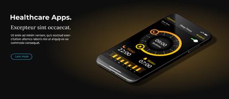Modern Black Smart Phone Lies on a Smooth Dark Brown Surface.