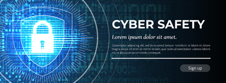 2d Illustration Cyber Safety on Blue Modern Safety Background. Web Banner Concept. Handsome Vector illustration.