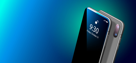 Set Mock-up of Modern Black Smart Phone on Smooth Dark Blue Surface in Perspective View. Realistic Vector Illustration of Smartphone. New Visionary Shiny Mobile Cellphone with Reflection on the Screen Illustration